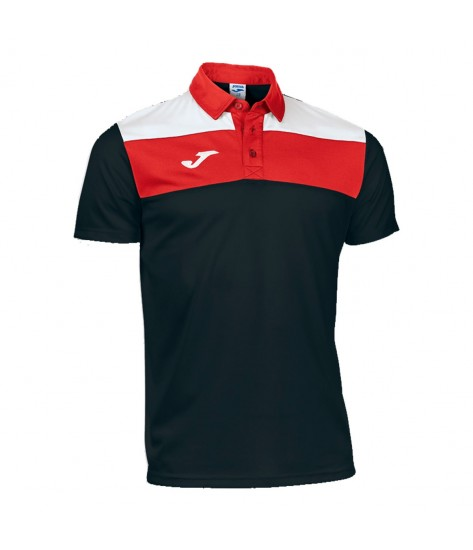 JOMA POLO CREW BLACK-WHITE-RED S/S 2XS