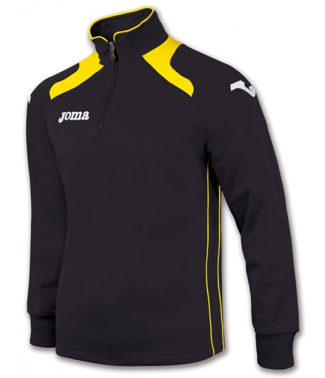 Joma Champion II 1/4 Zip Sweatshirt Polyfleece - Black / Yellow