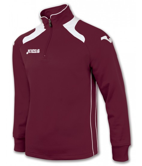 Joma Champion II 1/4 Zip Sweatshirt Polyfleece - Burgundy / White