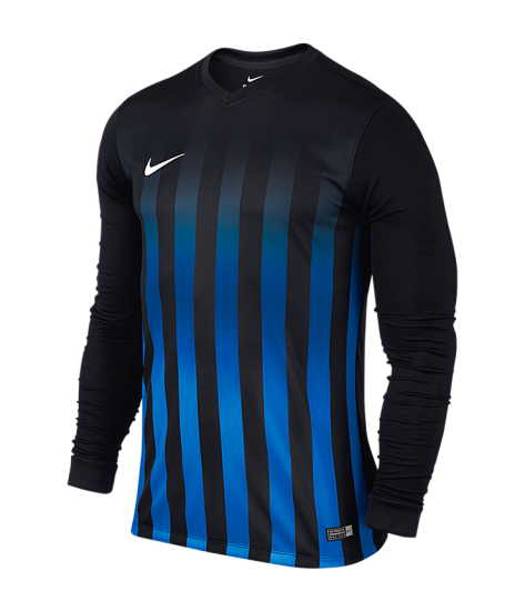 Nike LS Striped Division II Tee - Black / Royal Blue