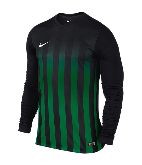 Kids Nike LS Striped Division II Tee - Black / Pine Green