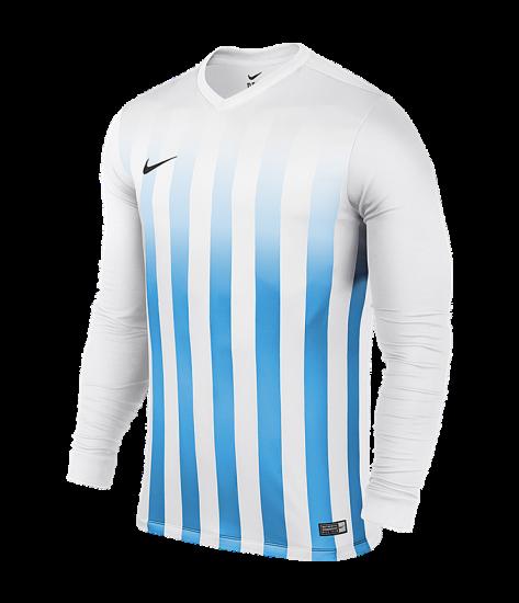 Kids Nike LS Striped Division II Tee - White / University Blue