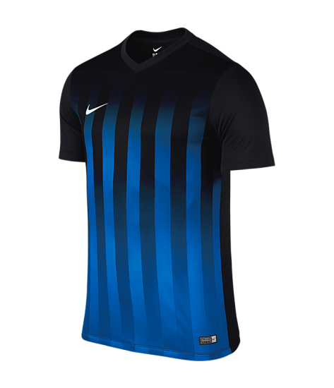 Kids Nike SS Striped Division II Tee - Black / Royal Blue