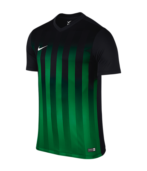 Kids Nike SS Striped Division II Tee - Black / Pine Green