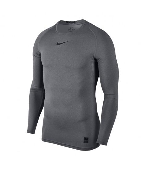 Nike Pro Crew Compression LS Top - Carbon Heather / Black