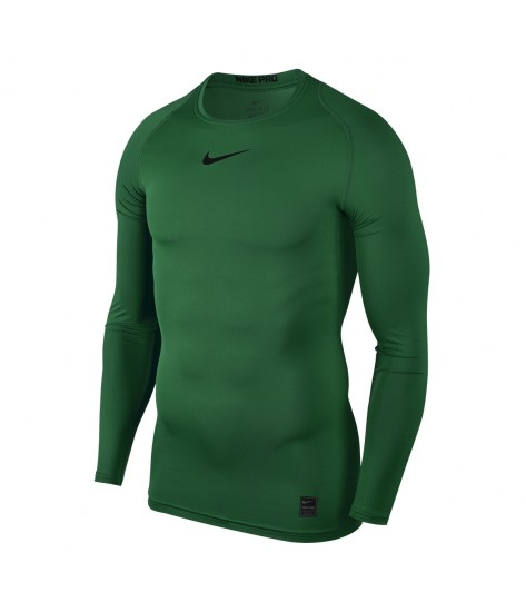 Nike Pro Crew Compression LS Top - Pine Green / Black