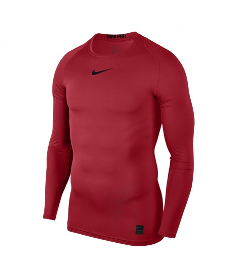 Nike Pro Crew Compression LS Top - University Red / Black
