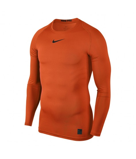 Nike Pro Crew Compression LS Top - Safety Orange / Black