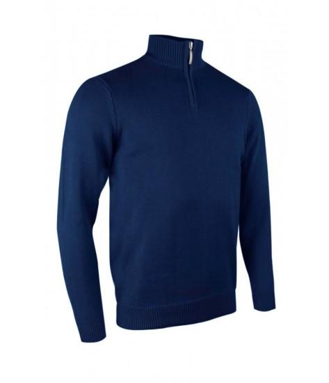 Glenmuir Zip -neck Cotton Sweater - Navy