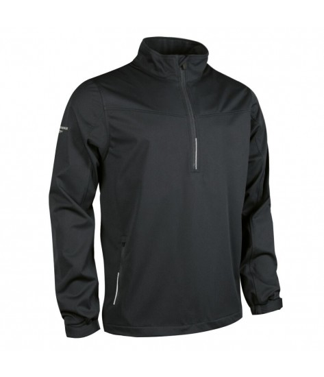 Glenmuir Aragon Zip Neck Long Sleeve Wind Shirt - Black/Silver