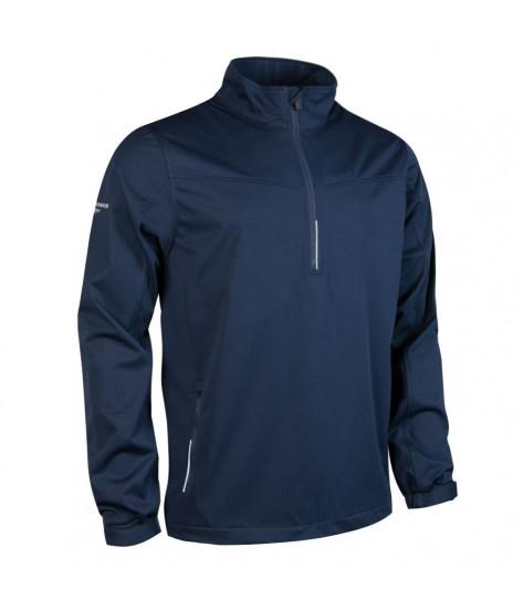 Glenmuir Aragon Zip Neck Long Sleeve Wind Shirt - Navy/Silver