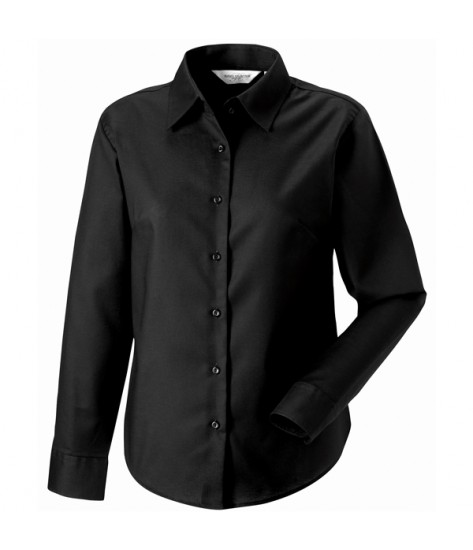 Russell Collection Women's Long Sleeve Oxford Shirt-Black