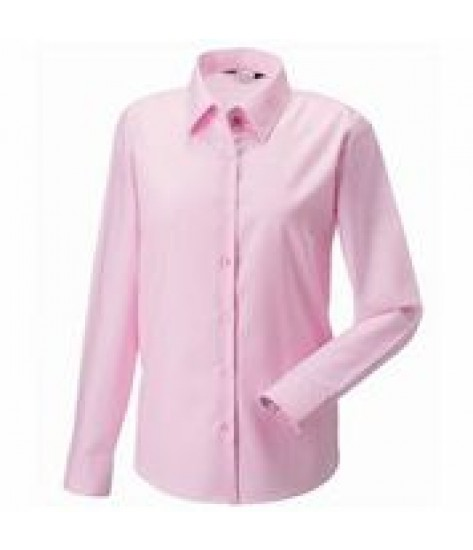 Russell Collection Women's Long Sleeve Oxford Shirt - Pink