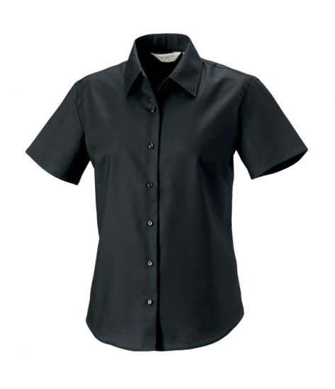 Russell Collection Women's Short Sleeve Oxford Shirt - Black