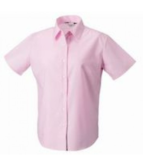 Russell Collection Women's Short Sleeve Oxford Shirt - Pink