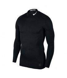 Nike Pro Mock Compression LS Top - Black/White