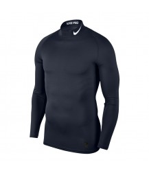 Nike Pro Mock Compression LS Top - Obsidian/White