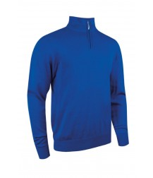 Glenmuir Zip -neck Cotton Sweater - Ascot Blue