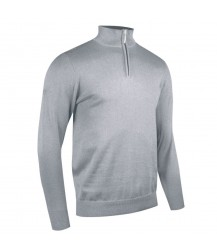 Glenmuir Zip -neck Cotton Sweater - LIght Grey Marl