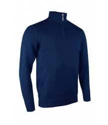 Glenmuir Zip -neck Cotton Sweater - Navy