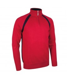 Glenmuir Albert Zip Neck Raglan Sleeve - Garnet/Navy
