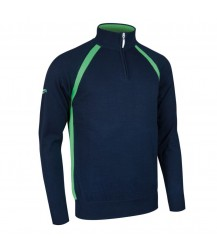 Glenmuir Albert Zip Neck Raglan Sleeve - Navy/Spring Green