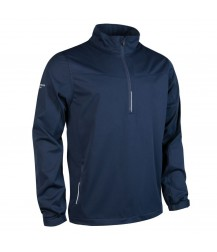 Glenmuir Aragon Zip Neck Long Sleeve Wind Shirt - Navy/Silver