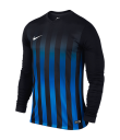 Kids Nike LS Striped Division II Tee - Black / Royal Blue